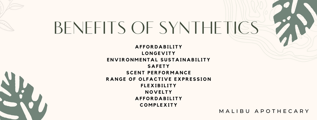 Benefits of synthetic fragrances like affordability, scent performance, safety, nontoxic, and more