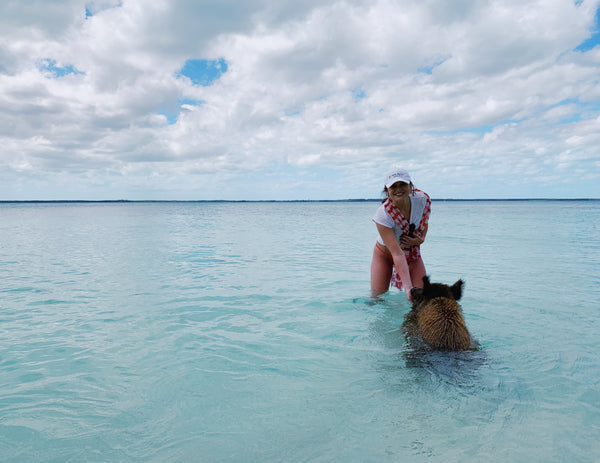 Claire Ellis, founder of Malibu Apothecary, in the Abacos on No Name Cay in Bahamas