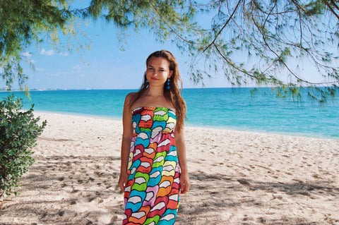 Malibu Apothecary Founder Claire Ellis on Seven Mile beach in Grand Cayman, Cayman Islands