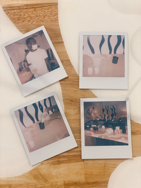 Polaroid photos of Custom candle making event in Dallas, Texas