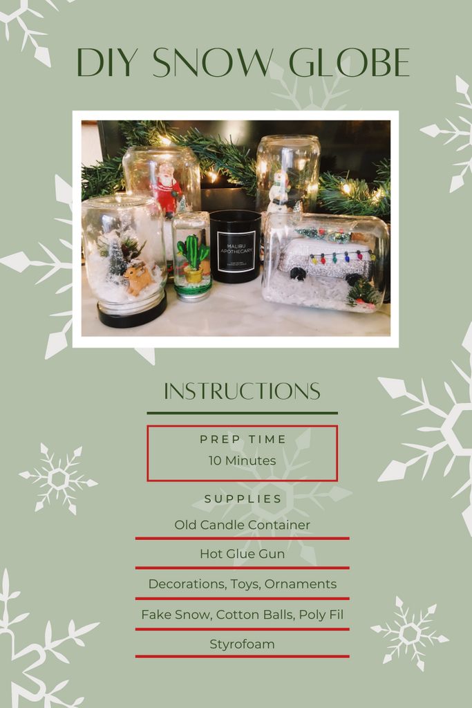 DIY Snow Globe by Malibu Apothecary with supplies list and instructions