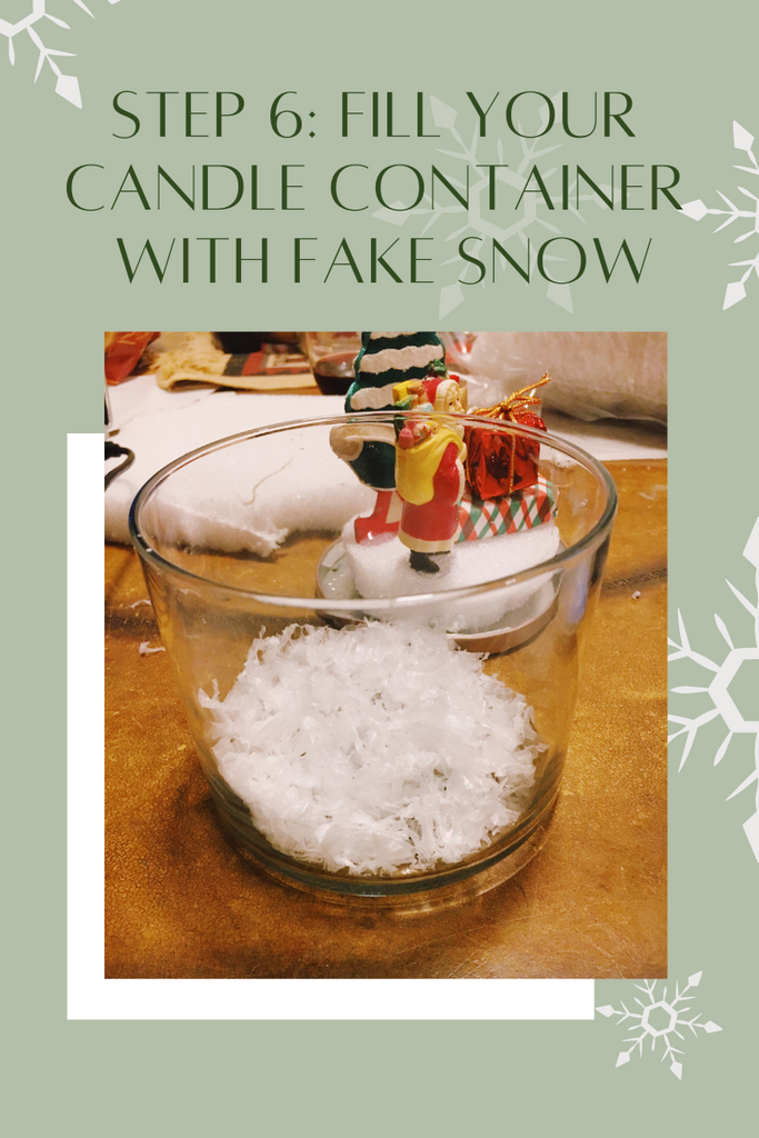 Add fake snow to your candle container for DIY Snow Globe by Malibu Apothecary