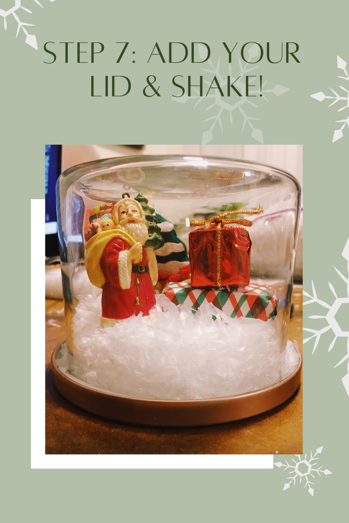 Add lid and shake for DIY Snow Globe