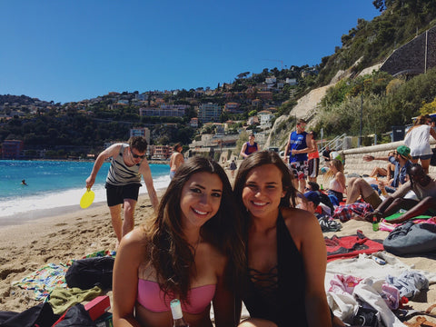 Malibu Apothecary Founder Claire Ellis in Ville Franche near Nice France on the beach