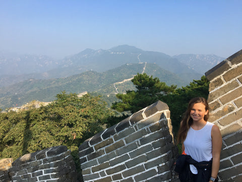 Malibu Apothecary Founder Claire Ellis on the Great Wall of China near Beijing