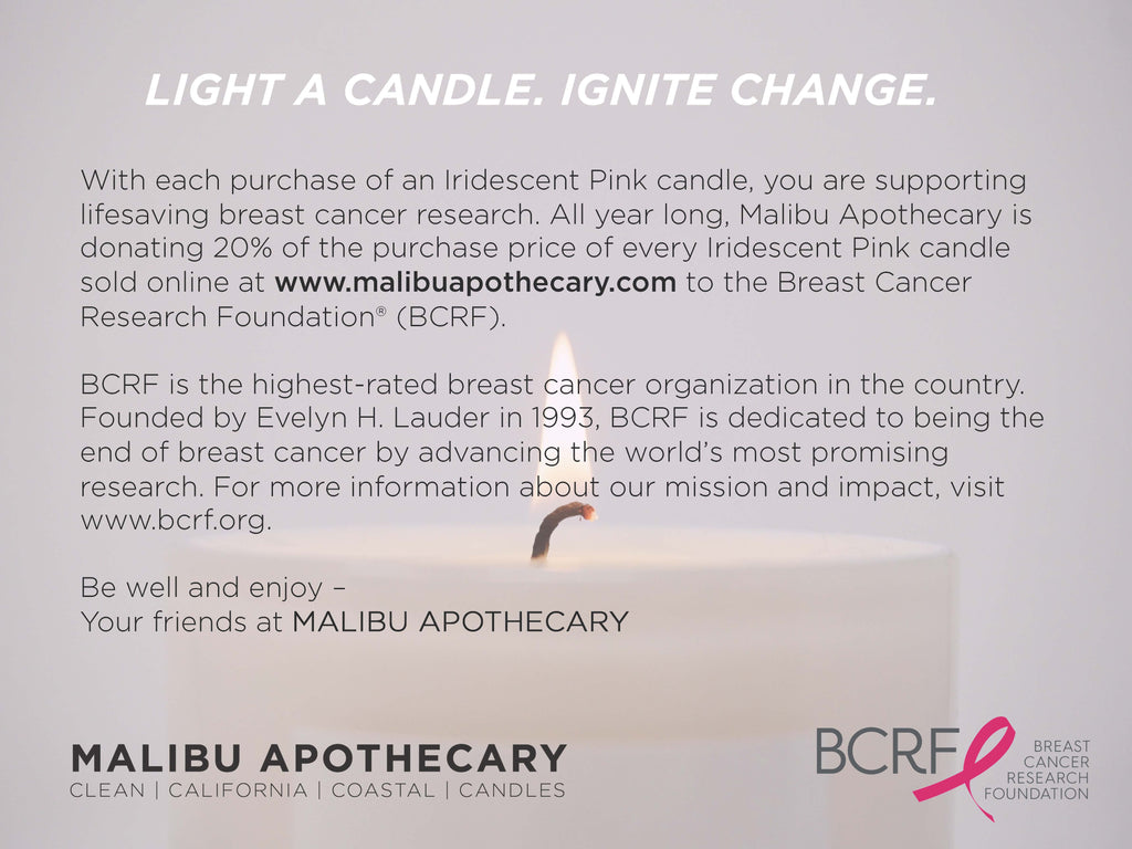 Malibu Apothecary partnership with Breast Cancer Research Foundation donating 20% of the Iridescent Pink Candle