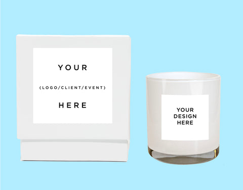 A Custom Private Label ready candle in white with a white gift box available from Malibu Apothecary. Option to include your logo, event, client's name for corporate gifting or product brand extensions.