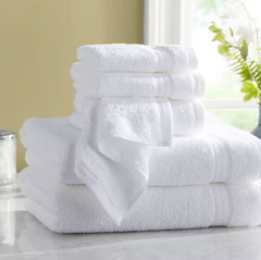 Wayfair hotel towel collection - complete set sitting on a marble bathroom countertop