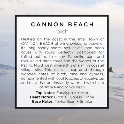 Cannon Beach Christmas Tree scented Candle with notes of pine, cypress, smoke, tonka bean, oud, spruce, white, birch and more