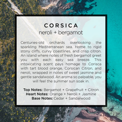Corsica scented candle inspired by the French Mediterranean island with notes of orange, petitgrain, jasmine, bergamot, neroli