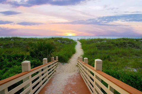 Path lined by green grass leading out to the ocean with a pink and purple sunset on the horizon in Hilton Head, South Carolina