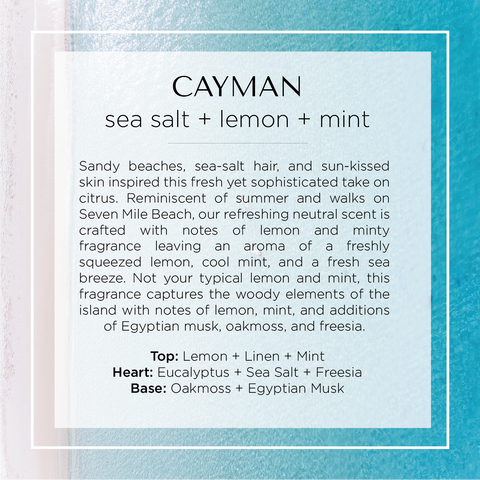 Our Cayman Islands scented candle with notes of citrus, lime, jasmine, lilac, peony, violet, french vanilla, oakmoss, and egyptian musk.