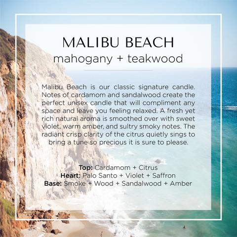 Malibu Beach inspired candle with notes of mahogany, teakwood, citrus, floral, violet, saffron, amber, cardamom, and smoke