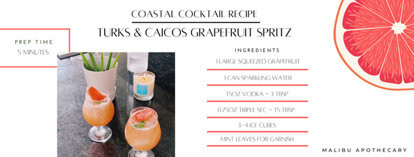 Turks & Caicos grapefruit spritz inspired cocktail with paired candle