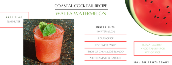 Wailea, hawaii inspired cocktail with blended ice, casamigos, freshly squeezed watermelon, simple syrup, and a tajin rim