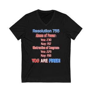 Resolution 755 Impeached V-Neck T-Shirt - PolitiCoolClothing