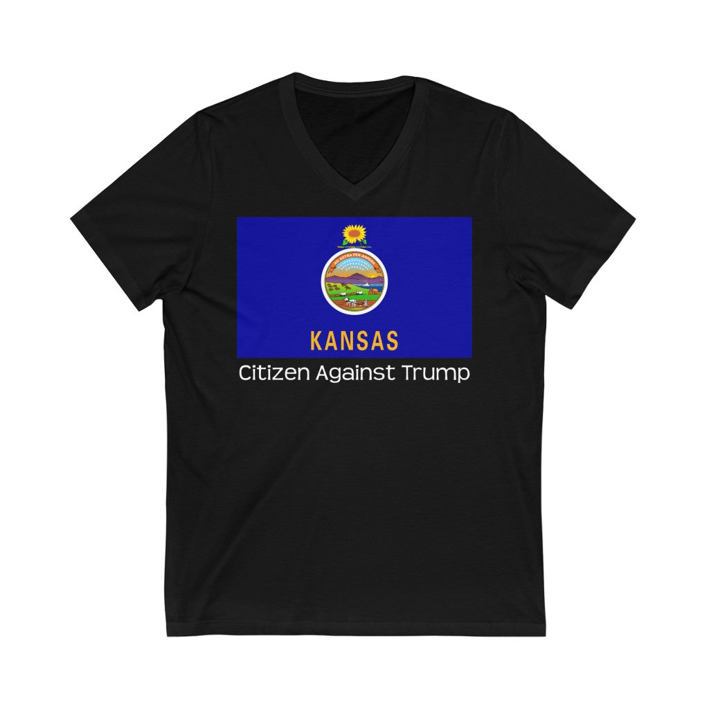 Kansas's Citizen Against Trump V-Neck T-Shirt #CitizenAgainstTrump - PolitiCoolClothing