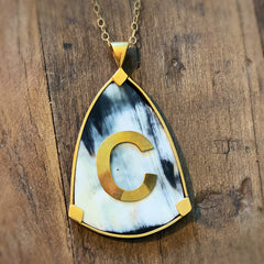 Custom Initial Dark Horn Shield Pendant