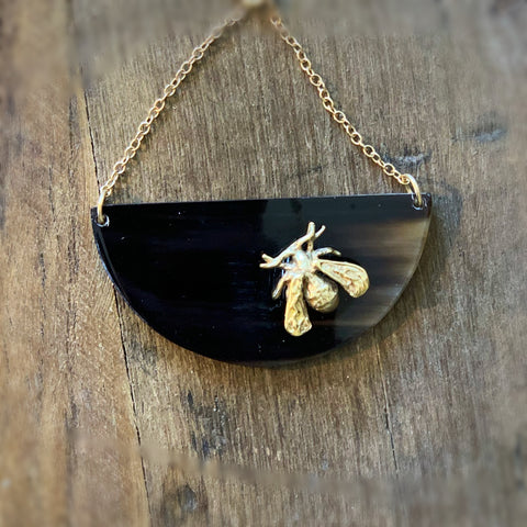 Large 1/2 circle Necklace with Bee