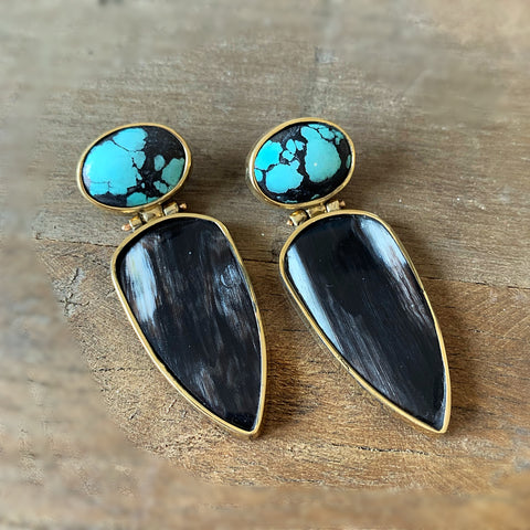 Horn and turquoise hinged earrings