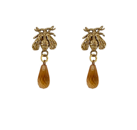 Honey Drop Earrings, small Citrine