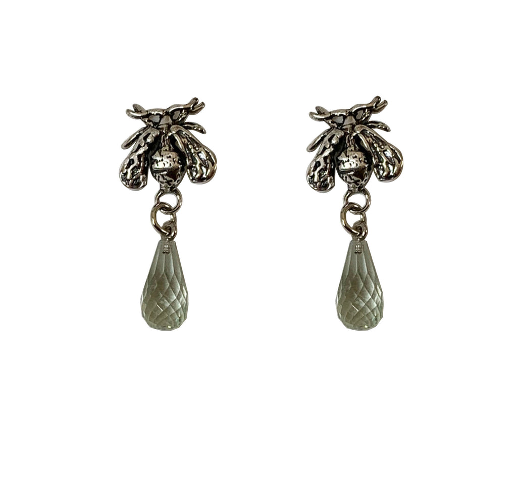 Honey Drop Earrings, small green amethyst