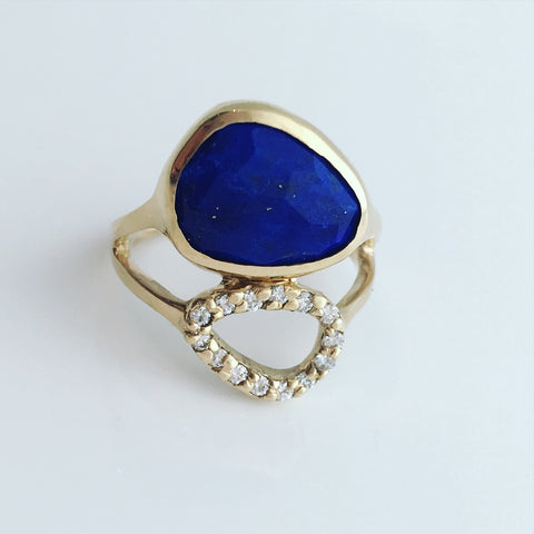 Blue Lapis and Diamond Ring