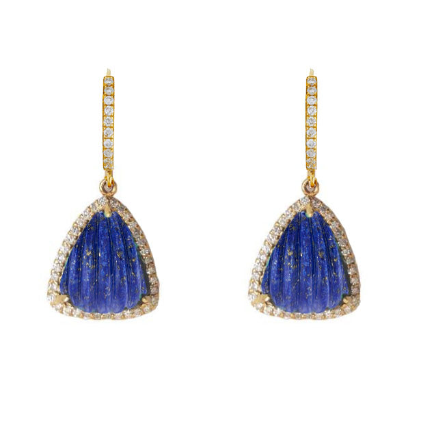 Carved Lapis Diamond Drops