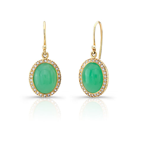 Chrysoprase and Diamond Drop Earrings