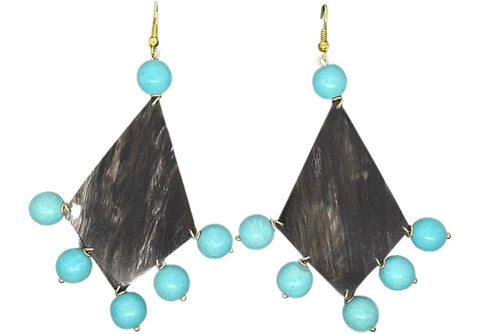 Turquoise Fan Earring Large