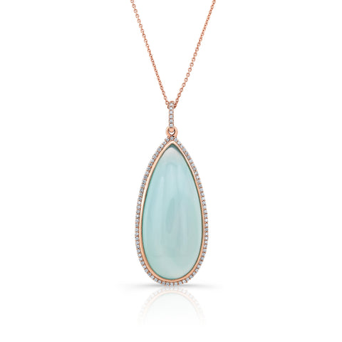 Chalcedony and Diamond Rose Gold Pendant