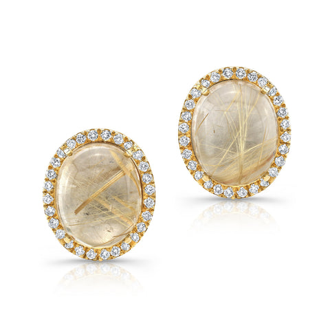 Diamond and Rutilated Quartz and Diamond Stud Earrings