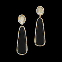 Diamonds, Black Onyx, and Rutilated Quartz Drop Earrings