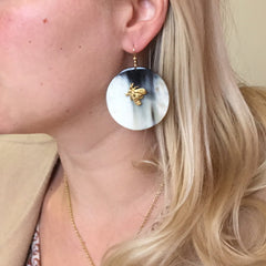 Large Circle Earrings with Bee