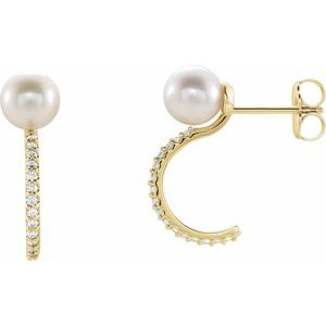 Freshwater Cultured Pearl & Diamond Hoop Earrings