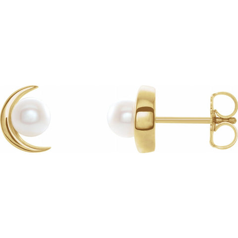 Pearl and Crescent Earrings