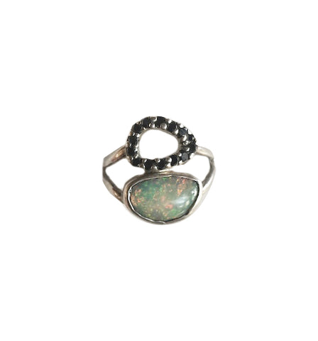 Black Diamond and Opal Ring