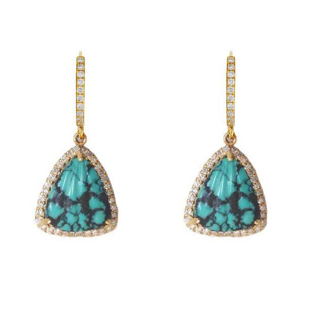 Carved Turquoise Diamond Drops