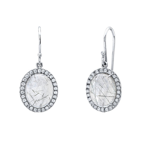 Rutile and diamond earrings
