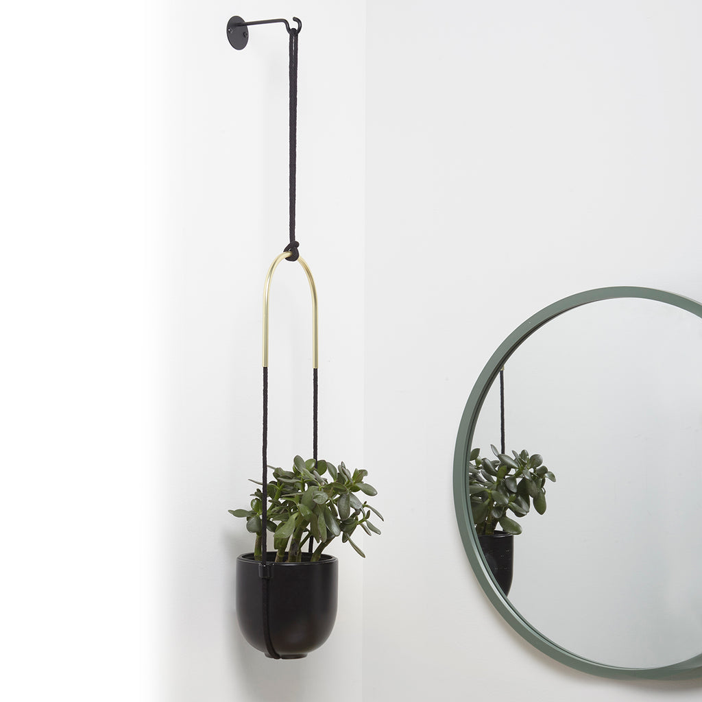 If you're seeking a sharp and eye-catching planter, Bolo may be the ideal item for you thanks to its round, soft curves, and sharp black and brass finishes. This easy to hang planter mounts in just minutes, and can be hung on the ceiling or wall.  Versatile Wall Decor: Bolo's simplistic yet eye-catching design will add a layer of dimension to your decor. It can be ceiling or wall-mounted for a higher or lower profile  Attractive And Modern Design: With its simple design bolo is the modern answer to the trad