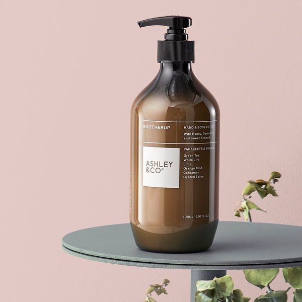 Get smooth and Sootherup. Nourishing botanicals of honey, camomile and sweet almond create a plush, creamy hand & body lotion to banish all scales. Here for you everyday, LOVE-MATCH with our Washup for a superlative cleanse & soothe ritual.  500ml Not Tested On Animals