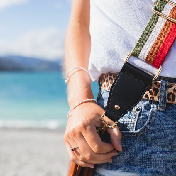 Stripe Bag Strap Give your bag a whole new lease of life by simply updating the strap. Adjustable length.  Size: strap length 137cm fully extended strap width 5cm