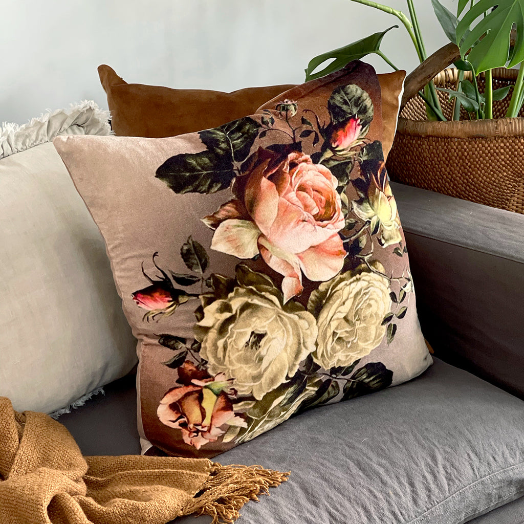 This beautiful floral inspired printed cushion will add vibrant colour and bold drama to a space, and is the perfect over-sized accessory to brighten up any room, looking gorgeous placed on the bed or sitting in your living room.  100% Cotton Velvet cover. 100% White Duck Feather (1400g). Gold metal zip closure. Single sided print. 60cm x 60cm Dry Clean only