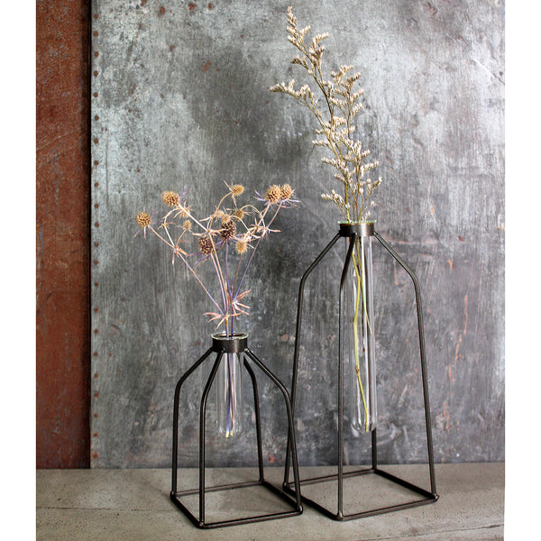 boca test tube vases The Boca test tube vases are perfect for a single stem or your favourite dried bunch. Rustic steel frame with glass test tube. Purchase the set of individual  Size: • Large 12w x 12d x 27h cm • Small 10w x 10d x 16h cm