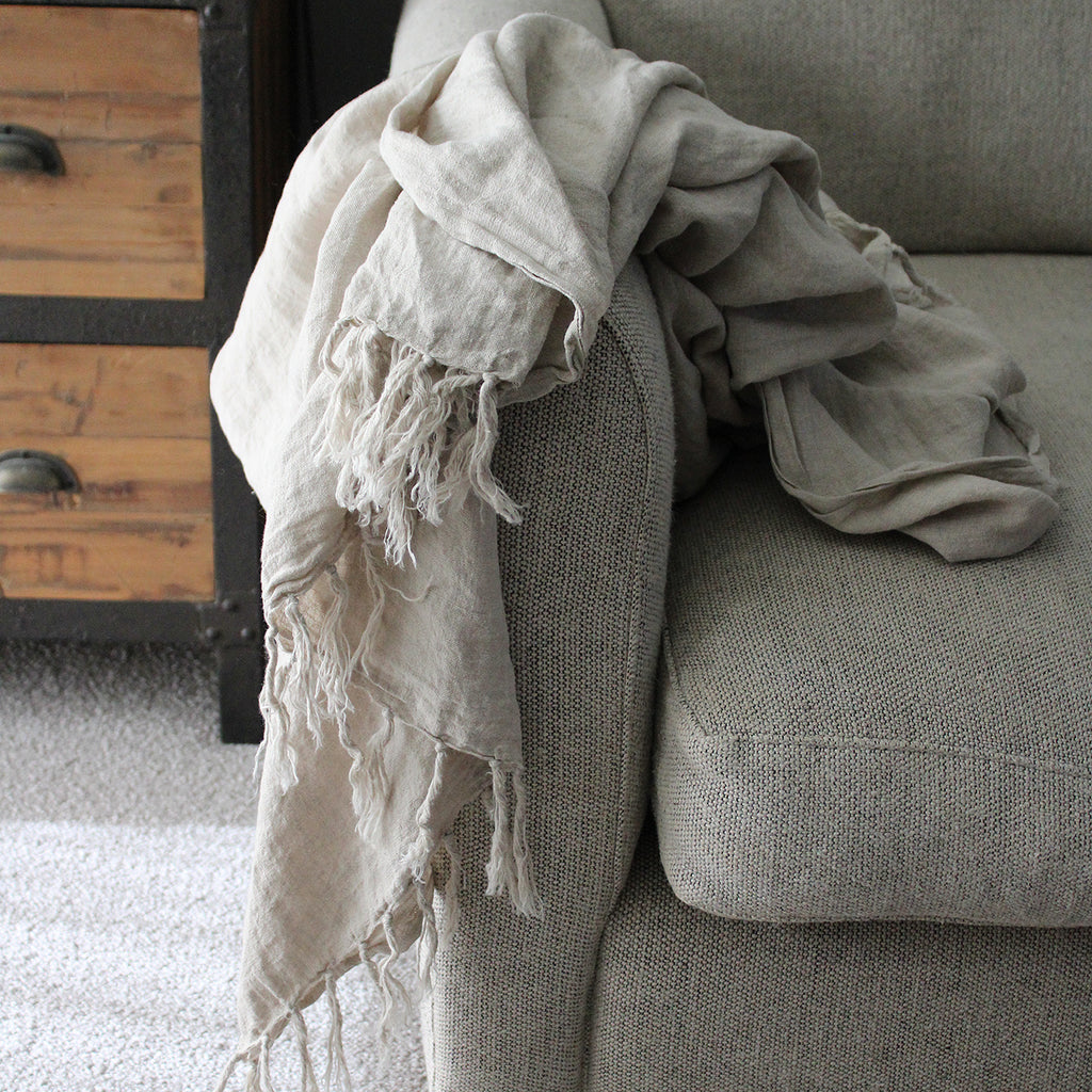 Indira Throw Slow down and embrace the beauty of natural fibres this season with pure linen throws. The Indira range is enzyme washed for a softer handle and sophisticated, gently distressed finish.  130x170cm throw 100% Linen