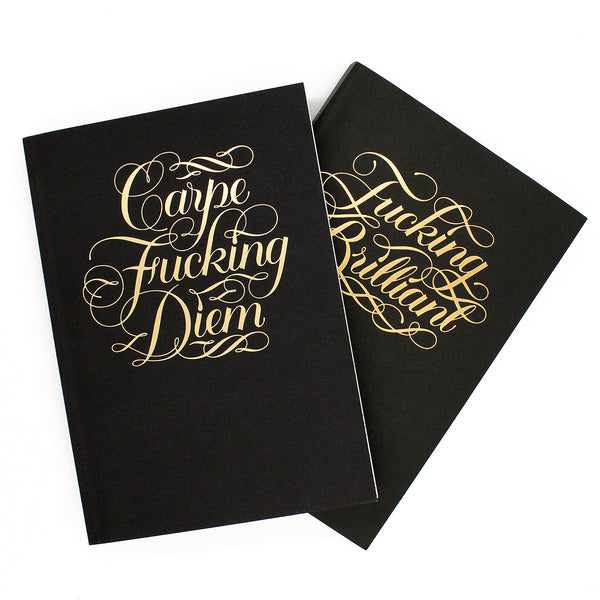 Combining the fine arts of calligraphy and swearing, this journal features the motivational phrases 'Carpe F*cking Diem' or 'F*cking Brilliant' in gold foil on the cover.  Size: 13 W x 18 L cm