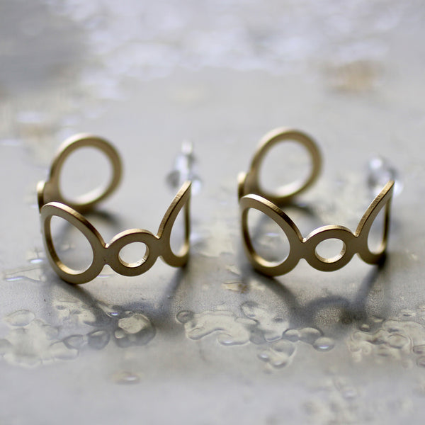 Hollow circle gold earrings Lead | Nickel | Cadmium Free  Size: D2cm  Antler jewellery