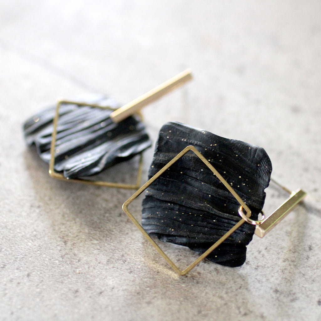 Textured black and gold squares earrings Lead | Nickel | Cadmium Free  Size: L4.5cm from post to bottom of square Antler Jewellery