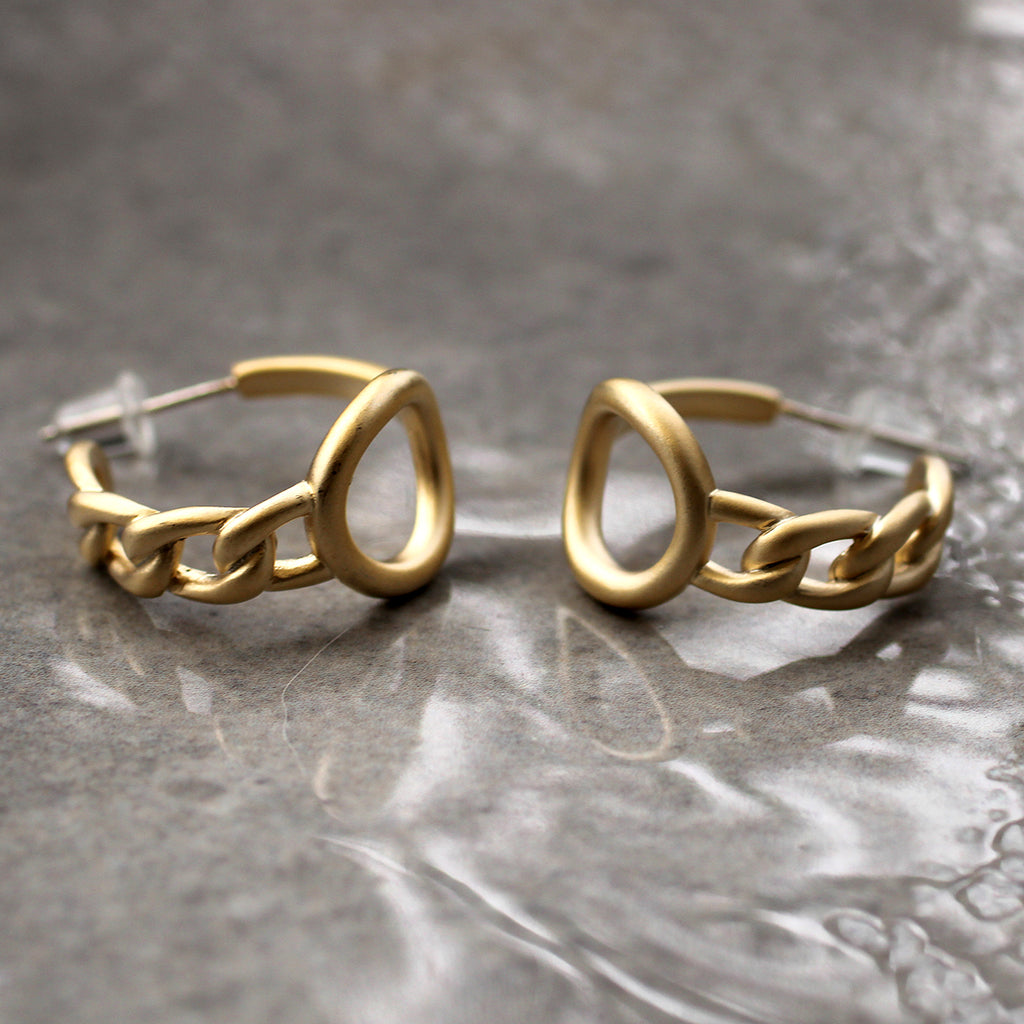 Circle and Chain Gold Hoop Earrings Lead | Nickel | Cadmium Free  Size: D2cm Antler jewellery