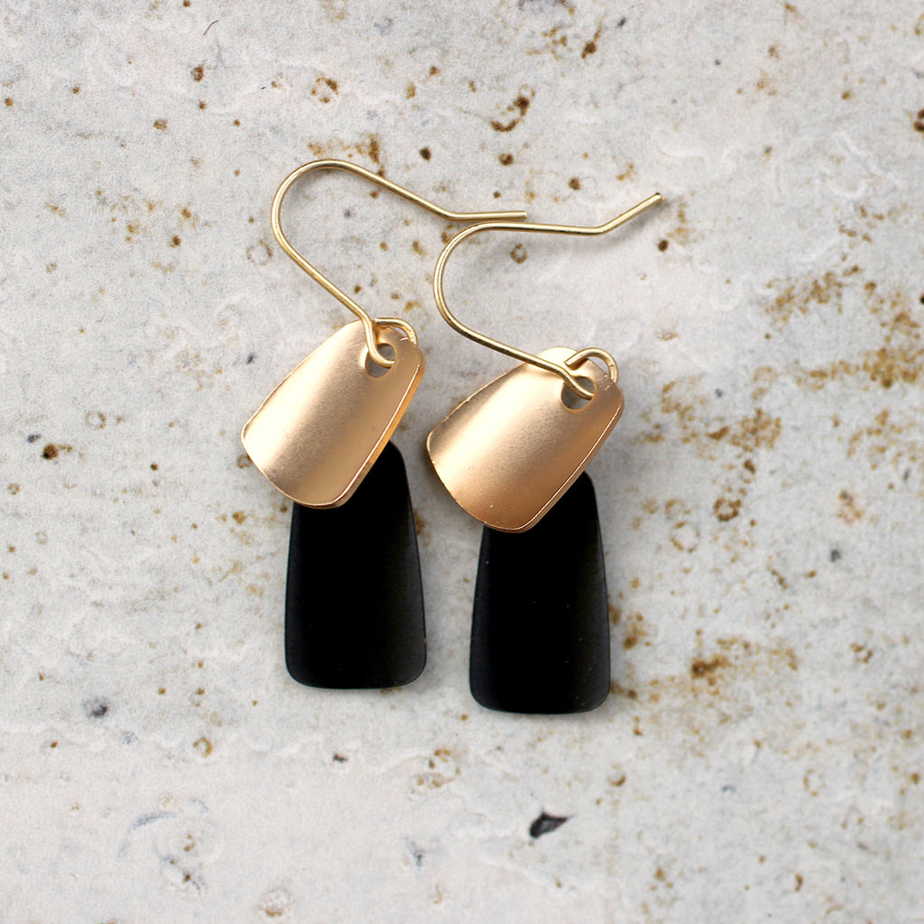 Hanging Rectangle Earrings gold + Black Lead | Nickel | Cadmium Free  Size: L4cm from top of hook Antler jewellery